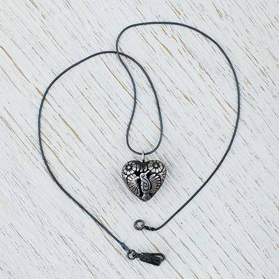 Tuxtepec Hummingbird Sterling Silver Heart Shaped Mexican Hummingbird Necklace