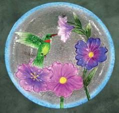 Birdbath- Hummingbird Glass Birdbath