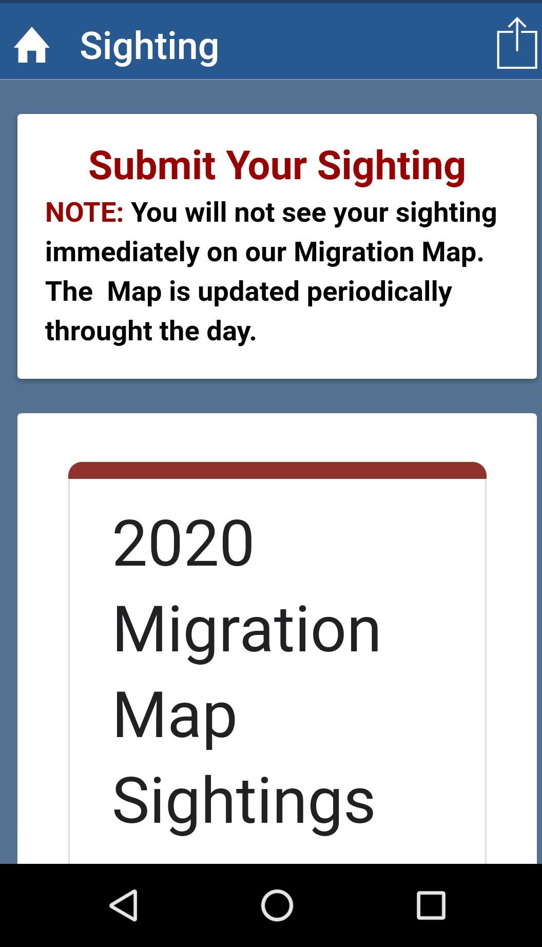 Hummingbird Migration Mobile App Sighting Form