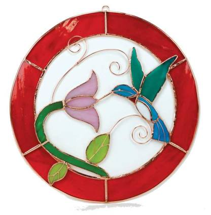 Small Hummingbird Red Circle Stained Glass Window Panel.