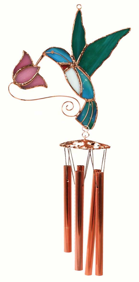 Hummingbird with Pink Flower Stained Glass Wind Chime.