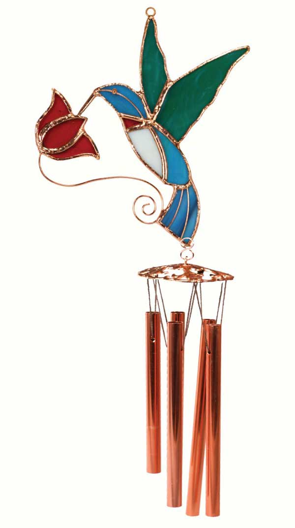 Hummingbird with Red Flower Stained Glass Wind Chime.