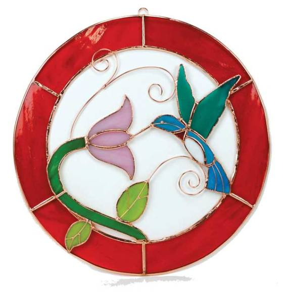 Large Hummingbird Red Circle Stained Glass Window Panel.