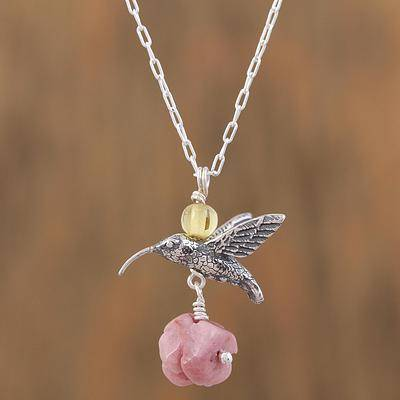 Hummingbird Treasure Rhodochrosite and Amber Sterling Silver Bird Necklace