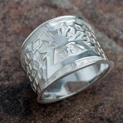 Bright Hummingbird Nazca Theme Wide Sterling Silver Bird Ring