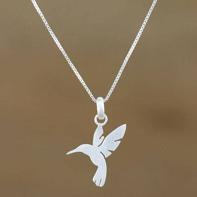 Fluttering Hummingbird Sterling Silver Hummingbird Pendant Necklace from Thailand