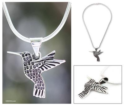 Aztec Hummingbird Artisan Crafted Women's Fine Silver Bird Necklace