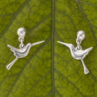Baby Hummingbird Handcrafted Sterling Silver Hummingbird Dangle Earrings