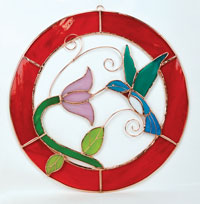 Hummingbird Stained Glass Window Panel