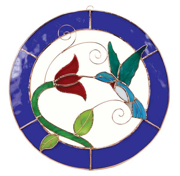 Large Hummingbird Blue Circle Stained Glass Window Panel.