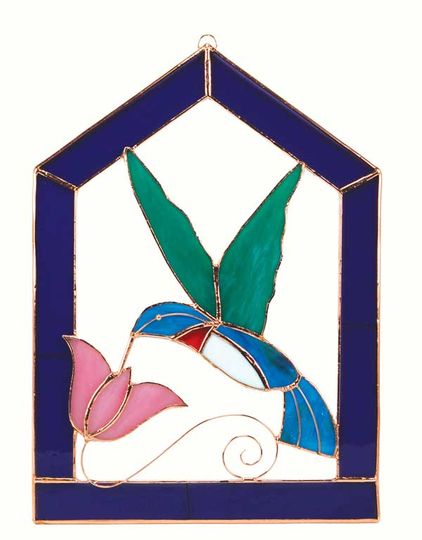 Large Hummingbird Purple Steeple Stained Glass Window Panel.