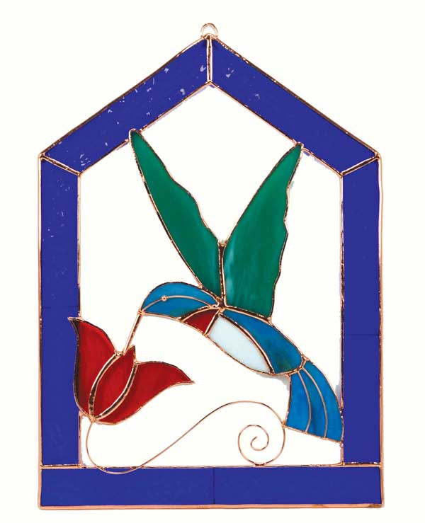 Large Hummingbird Blue Steeple Stained Glass Window Panel.