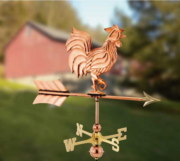 Rooster Polished Copper Garden Weathervane