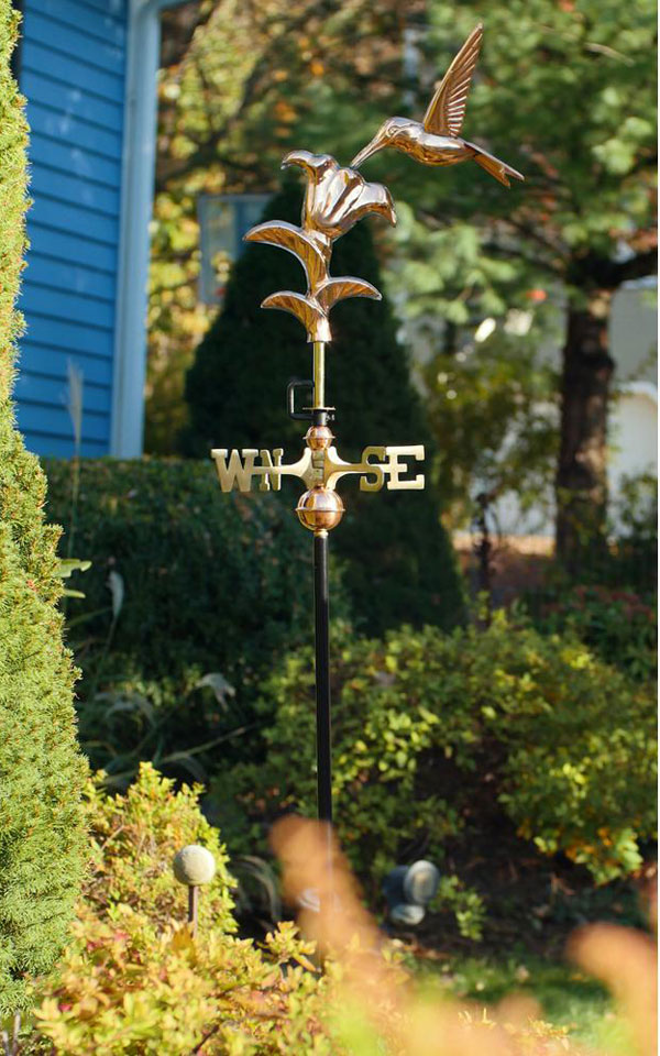 Hummingbird Polished Copper Garden Weathervane