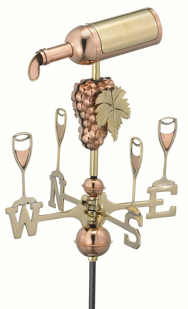 Wine Bottle Polished Copper Garden Weathervane
