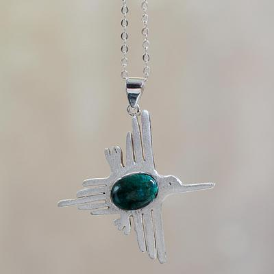 Hummingbird Hummingbird Nazca Design Silver 950 and Chrysocolla Pendant Necklace