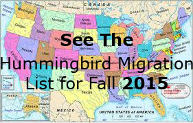 Hummingbird Migration List Fall 2015