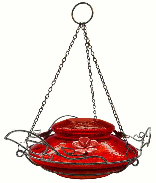 Modern Top-Fill Red Crackle Hummingbird Feeder