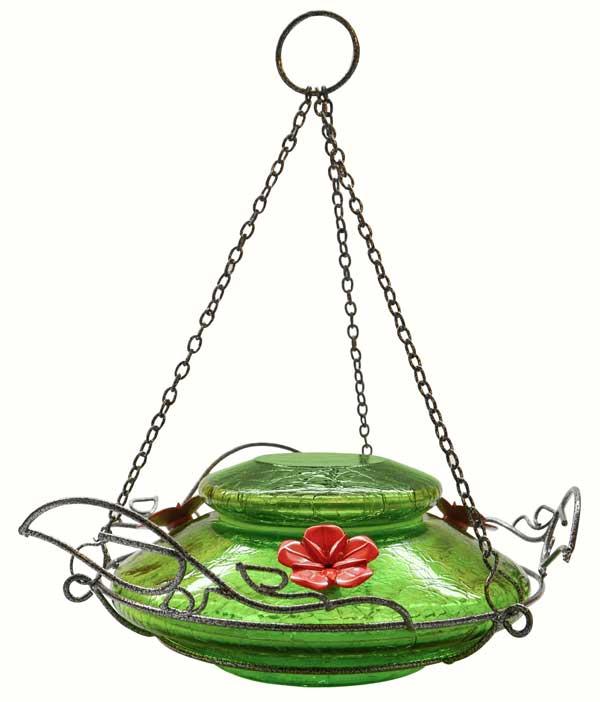 Modern Top-Fill Green Crackle Hummingbird Feeder