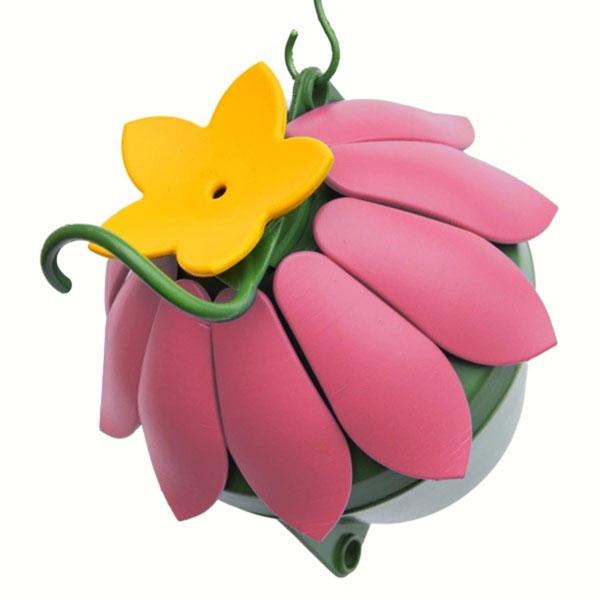 So Real Pink Single Flower Hummingbird Feeder