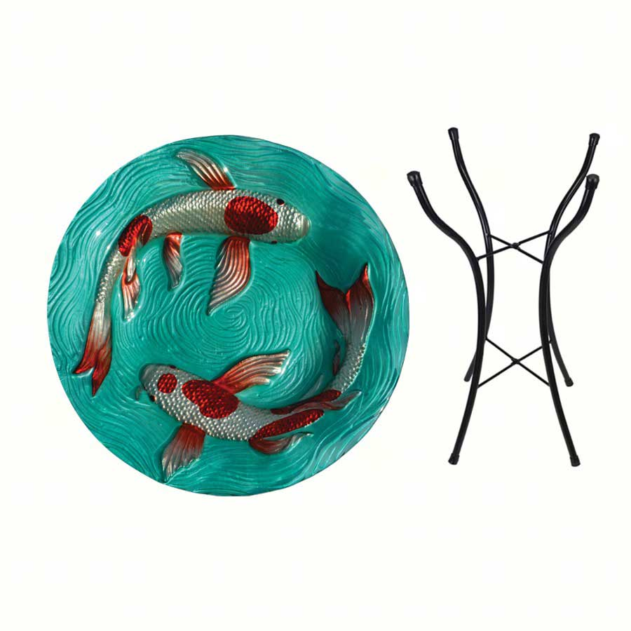 Koi pond birdbath glass with vibrant colors for Koi fish price guide