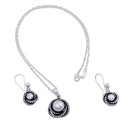 Hummingbird Nest Modern Necklace and Earrings Set Crafted of Andean Silver