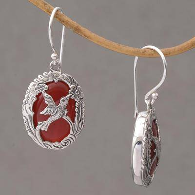 Nature's Freedom Carnelian and Sterling Silver Hummingbird Dangle Earrings