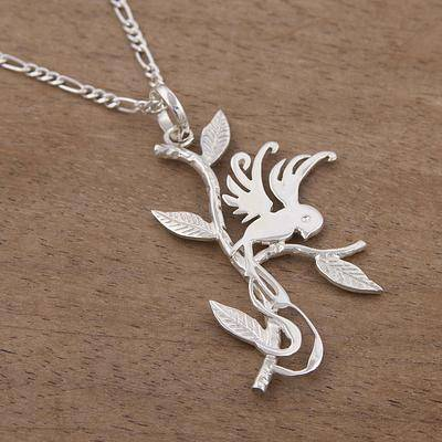 Hummingbird in Love Sterling Silver Hummingbird Pendant Necklace from Peru