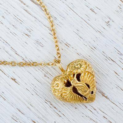 Oaxaca Hummingbird Gold Plated Hummingbird Heart Pendant Necklace from Mexico