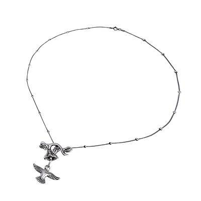 Hummingbird and Flower Sterling Silver Hummingbird Pendant Necklace from Mexico