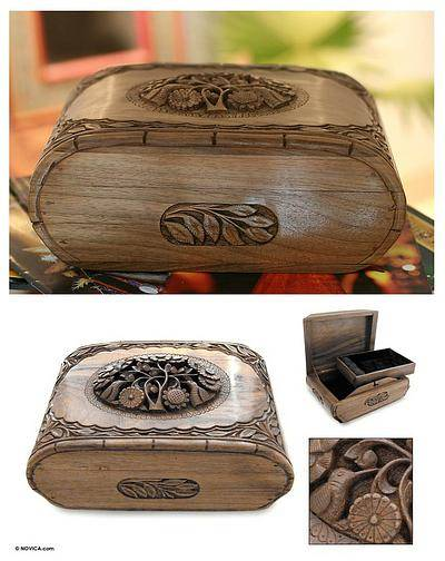 Hummingbird Tree Hand Carved Walnut Wood Jewelry Box