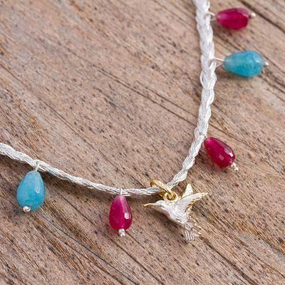 Hummingbird Lights Agate Necklace with Hummingbird Pendant