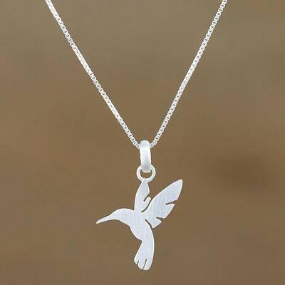 Fluttering Hummingbird Sterling Silver Hummingbird Pendant Necklace from Thailand