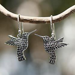 Aztec Hummingbird Hand Made Fine Silver Dangle Bird Earrings