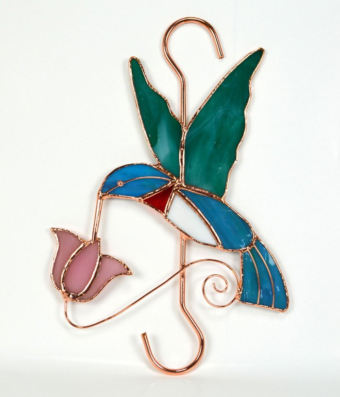 Hummingbird with Pink Flower Stained Glass Garden Hook.