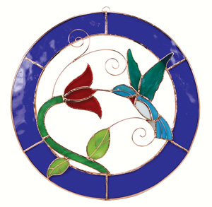 Small Hummingbird Blue Circle Stained Glass Window Panel.