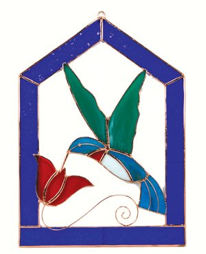 Small Hummingbird Blue Steeple Stained Glass Window Panel.
