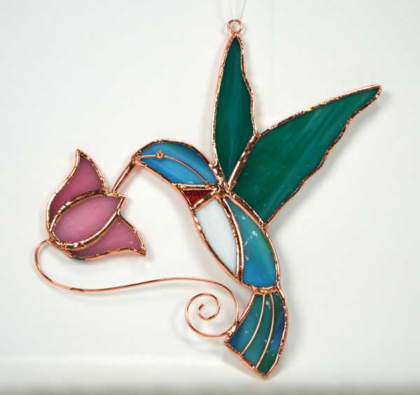Hummingbird with Pink Flower Stained Glass Suncatcher.