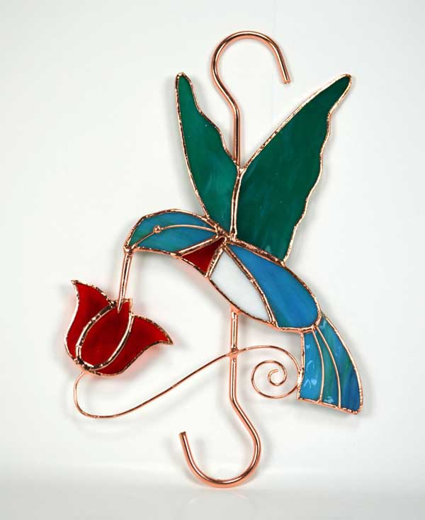 Hummingbird with Red Flower Stained Glass Garden Hook.