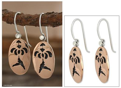 Hummingbird Haven Mexican Floral Copper Bird Earrings