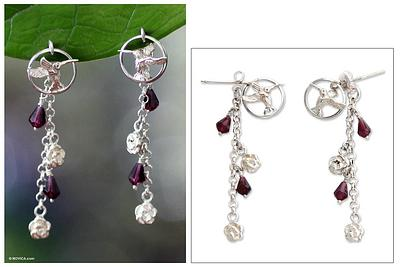Hummingbird Song Garnet flower earrings