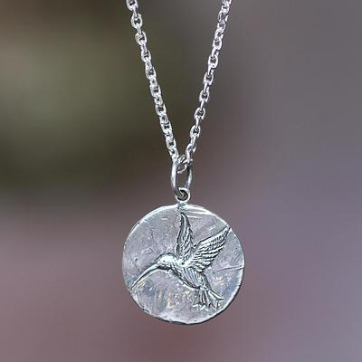 Hummingbird Magic Hand Crafted Sterling Silver Pendant Necklace