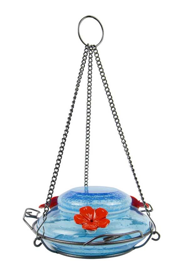 Garden Top-Fill Mason Jar Blue Hummingbird Feeder