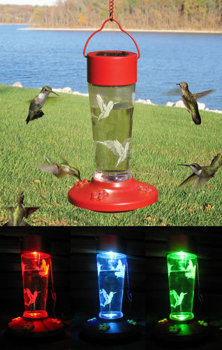 Solar Powered Hummingbird Feeder Se931 Color Changing
