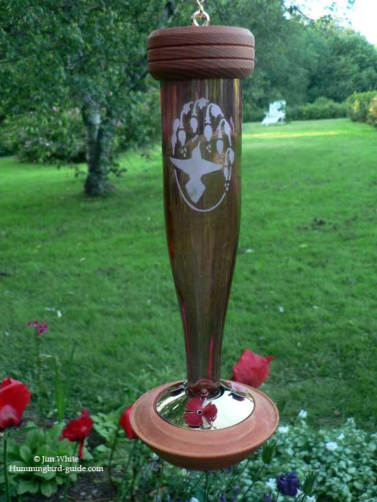 Schrodt Etched Glass Decorative Hummingbird Feeder