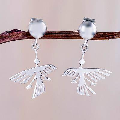 Eternal Hummingbird Sterling Button Handcrafted Nazca Theme Earrings